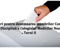 Desfășurarea turului al II-lea al alegerilor pentru desemnarea membrilor Comisie de Disciplină a Colegiului Medicilor Neamț